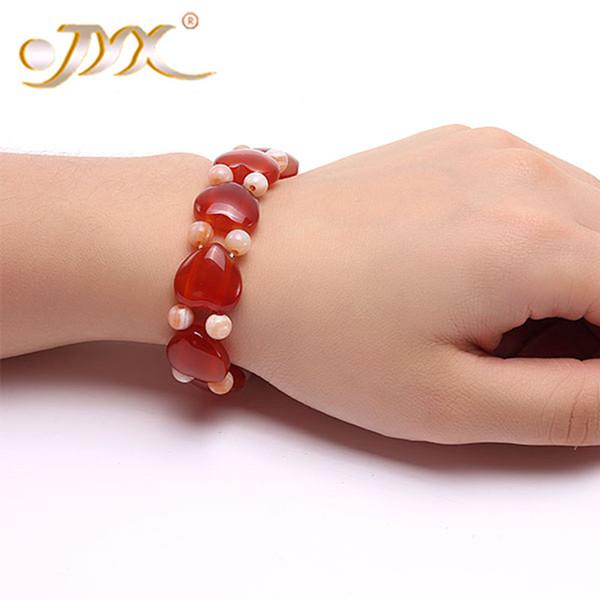 JYX Achat Armband 6mm Rot Orange Runde und Herzförmige Achat Armband 8