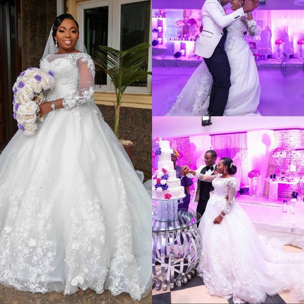 Design Plus Size White Ball Gown Wedding Dresses With Lace Long Cap Sleeve Princess Long Train Wedding Gowns Bridal Dress Tulle Custom Made
