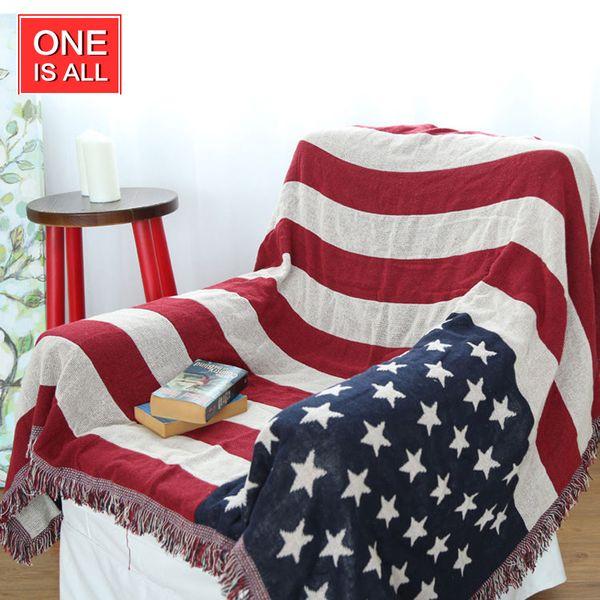 130*180cm American Flag Cotton Sofa Throw Blanket KILIM Turkish Navajo Ethnic Wall Hanging Home Decor Flags & Political