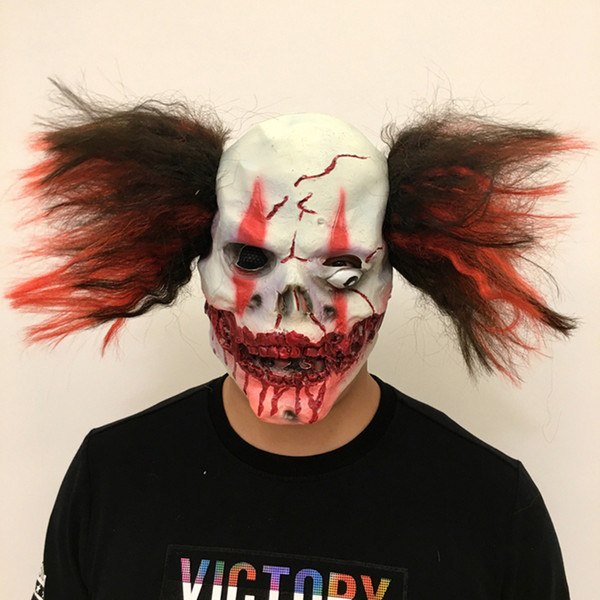 2018 Adult Horror Bloody Zombie Cosplay Halloween Mask with Hair Party Bar Costume Props Haunted House Decoration