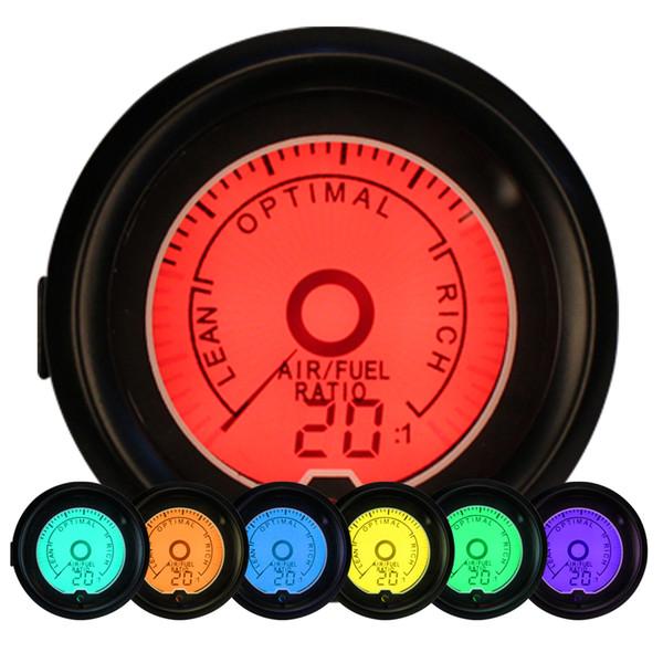 "Universal Auto Car Styling 2"" 52mm Air Fuel Ratio Analog Monitor Gauge Meter 7 Color Backlit Gauges Instrument Kit"