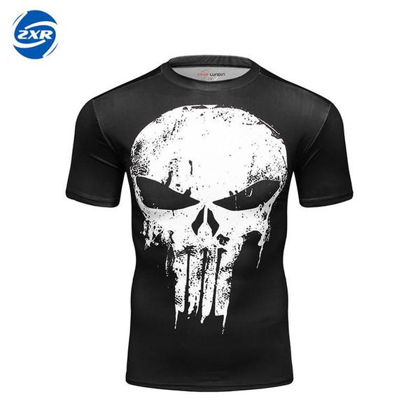 Punisher Camisetas divertidas Camiseta impresa en 3D Camisa deportiva para correr en forma seca Medias de compresión SHORT Sleeve Rashguard Men Gym