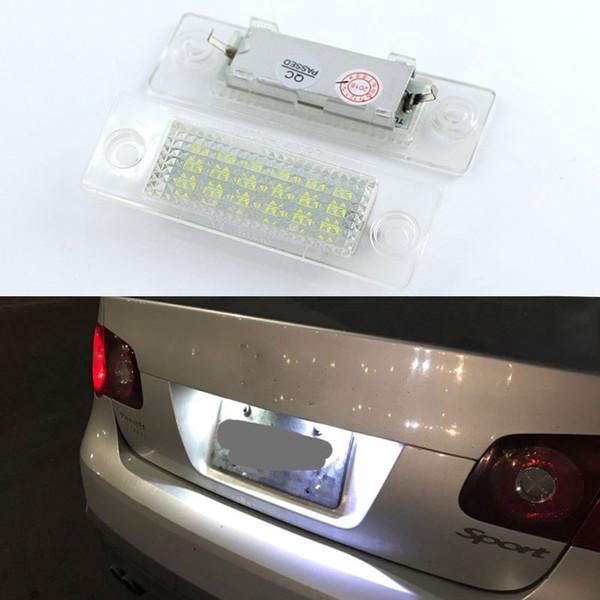 2pcs LED Plaque D'immatriculation Ampoule Canbus Pour VW Touran Passat Cimousint B5.5 SKODA Superbe 1 3U B5 Blanc Lampe Plaque Numérique