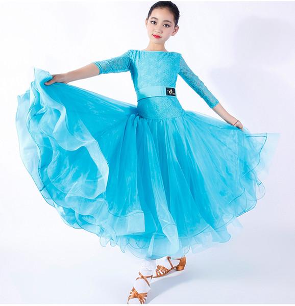 Nuovi bambini ragazze Ballroom Dance Dress Bambini moderno valzer Standard concorrenza pizzo cuciture manica lunga abito da ballo blu nero rosso