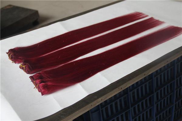 La Grande Extension De Cheveux Raides Brésiliens Lisses Rouges 100% Armure De Cheveux Humains 6a Non Transformés Double Trame Extensions de Cheveux Vierges