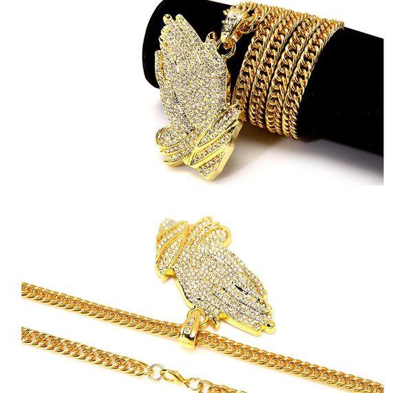 Prier les mains Bijoux Pendentif Collier diamant Frère Cadeau Plaqué Or 18K En Acier Inoxydable Hommes Chaîne Parfait Cadeau Collier Accessoires