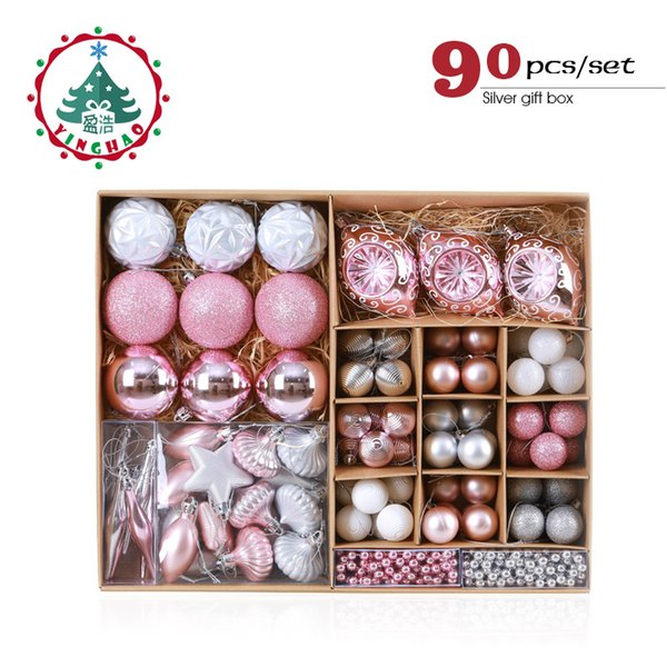 wholesale Pink Christmas Tree Ornaments Christmas Balls Decoration Baubles Plastic Hanging Ball Craft Supplies Xmas Gifts 2019 NEW