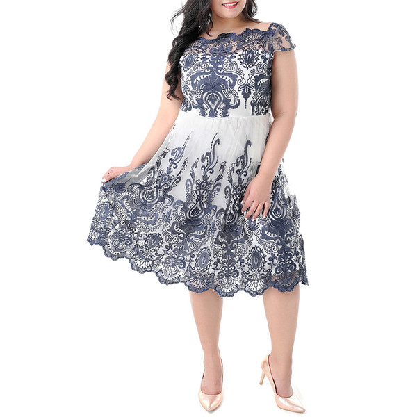 2018 Plus Size Summer Lace Dresses For Women 3XL-7XL Large Size Lace Patchwork Chubby Plus Size Women Clothing Casual Evening Party Dresses