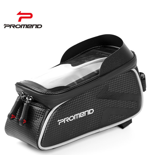 Promend Waterproof Bike Bag Frame Front Head Top Tube Cycling Bag Double IPouch 6.2 Inch Touch Screen Bicycle Accessories