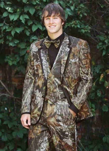 Hombres de camuflaje de moda 3 piezas traje de boda esmoquin novio esmoquin muesca solapa dos botones hombres cena Bailarín de graduación (chaqueta + pantalones + Tie + chaleco) 473