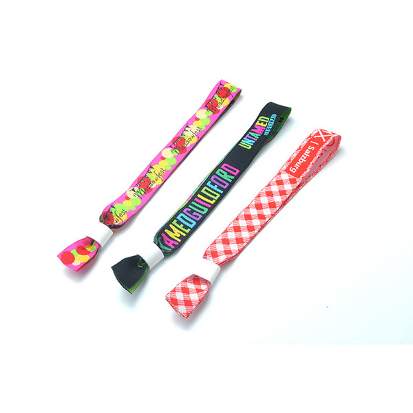 Custom Printed Sublimation Fabric Wristbands Ribbon Fabric Straps Polyester Bracelets Adjustable Party Festival Events Wrist Bands