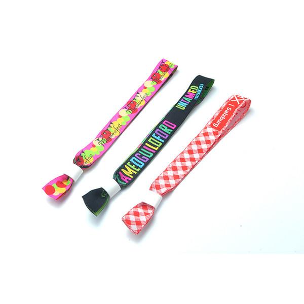 Personalizado impresso pulseiras de tecido de sublimação fita tecido cintas pulseiras de poliéster ajustável partido festival eventos bandas de pulso
