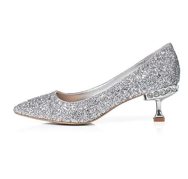 low heel silver glitter shoes Coupons - Spring Bling Bling Glitter Wedding  Shoes 2018 Pointed Toe b37dbbf7b502