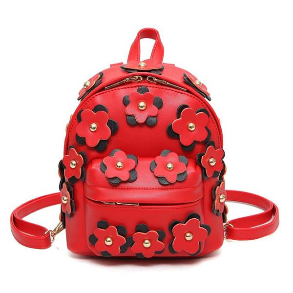 2017 Fashion Women Leather Backpacks Womens Backpack Flowers Bag School Bags For Teenagers Woman back pack Mini Mochila Feminina