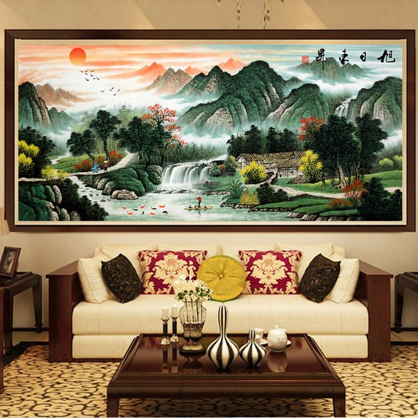 5D Fully-jewelled The Red Sun Rises In Sky Diamonds Picture A Living Room Office Landscape Painting Stick Drill Cross Embroider Point The Ha