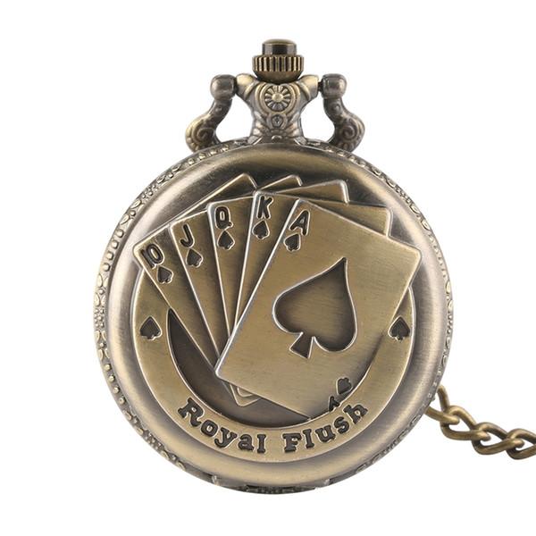 Número Árabe Wander Reloj de bolsillo Tiempo Magic Bronce Hombres Relojes de bolsillo de Cuarzo Cara Abierta Vintage Fob Reloj Regalos Reloj Mujer
