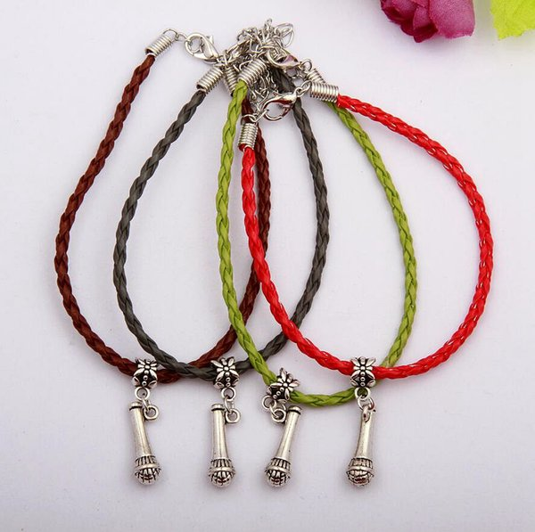 Hot 50pcs/lot Ancient Silver Microphone Charm Pendant 20+5cm Multicolor Braided Leather Rope Bracelet Women Jewelry Gift H566