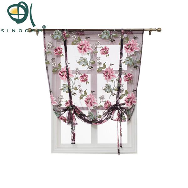Cucina Short Sheer Burnout Roman Blinds Tende Peony Sheer Panel Tulle Window Treatment Tenda per porte Home Decor Rideaux