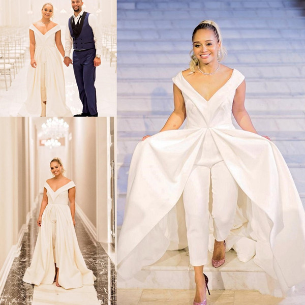 27881dc1eb2 2018 plus size Women Jumpsuit Wedding Dresses Elegant White Satin Bridal  Pantskirt Gowns With Wide Long