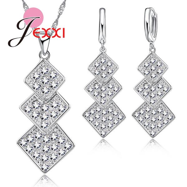 JEXXI popolare tre rombo 925 sterling silver donne / ragazze cz set di gioielli in cristallo pieno cz orecchini ciondolo in cristallo collana