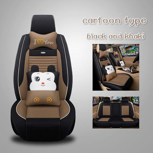 Lovely all clusive flax cloth art Sedans Auto Interior Accessories breathable cartoon breathable car seat cushion
