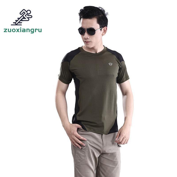 Zuoxiangru Man Outdoor T-shirt Men Cotton Army Tactical Combat T Shirt Sport Hiking Camp Mens Huking T Shirts Tees