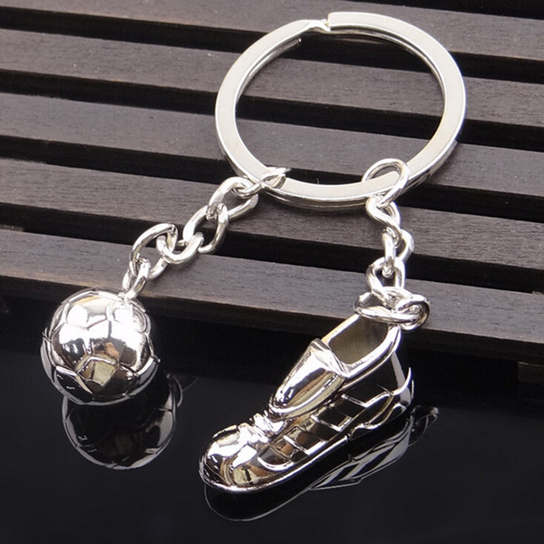 Silver Color Football Soccer Shoes Keychains For Car Purse Bag Buckle Pendant Keyrings Key Chains For Women and Men Gift