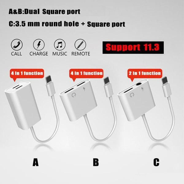 2 in 1Dual für Blitze zum Kopfhörer-Audioladegerät-Adapter-Verbindungsstück-Kabel für iPhone 7 8 X für Version iOS 11.3 mit OPP-Paket
