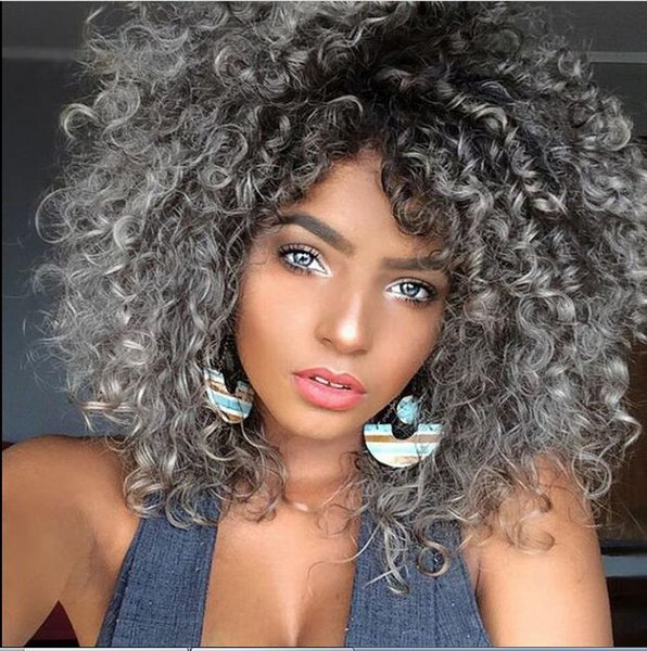 Women S Kinky Curly Natural Black Grey Ombre Hair Heat Resistant Synthetic Wig Wig Cap Hairstyles Wig Caps For Big Heads From Hamdlen976 36 99