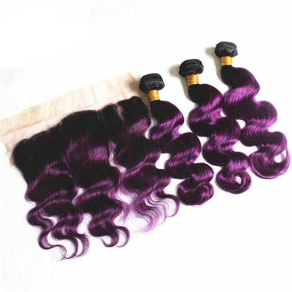 T1B Purple Color Body Wave Ombre Brazilian Virgin Human Hair Weave Bundles 3PCS With 13x4 Ear to Ear Lace Frontal Closure Pre-plucked Hair