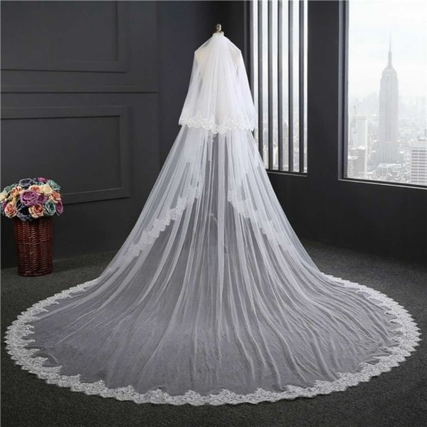 New Long Ivory Veils Two Layers Cover the Face High Quality Bridal Veil Tulle Wedding Party Accessories with Lace Appliques and Comb