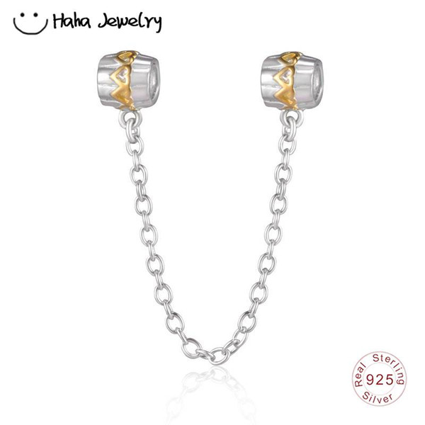 Haha Jewelry Gold Hearts Safety Chain Charm Authentic 925 Sterling Silver Love to Love Bead Compatible for Pandora Charms Bracelet Making