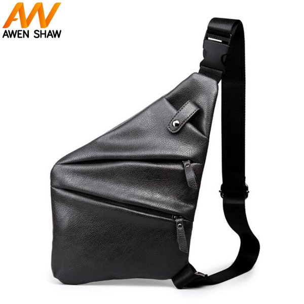 AWEN SHAW Fashion Leather Man Chest Bag With Front Pocket Personality Stylish Crossbody Bag Travel Casual Daily Men Sling