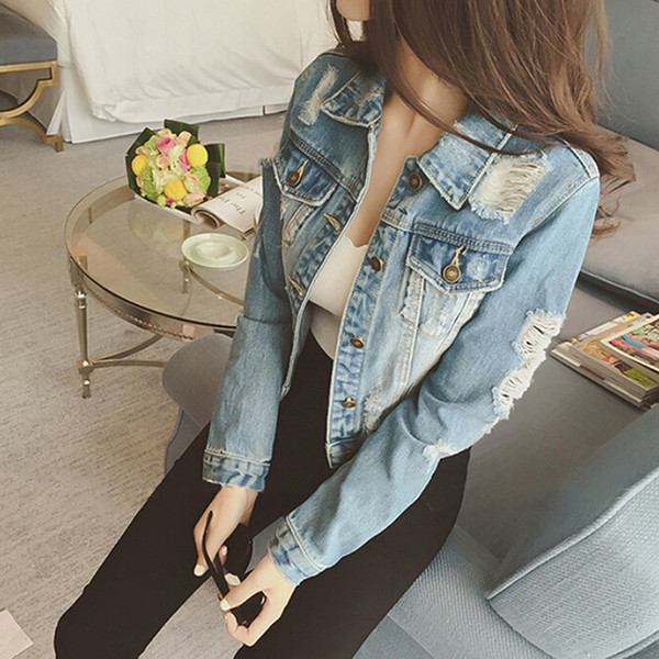 2018 Autumn New Women Jeans Jacket Denim Coat Casual Blue Outerwear Tops Spring Long Sleeve Frayed Vintage Jeans Coat Female