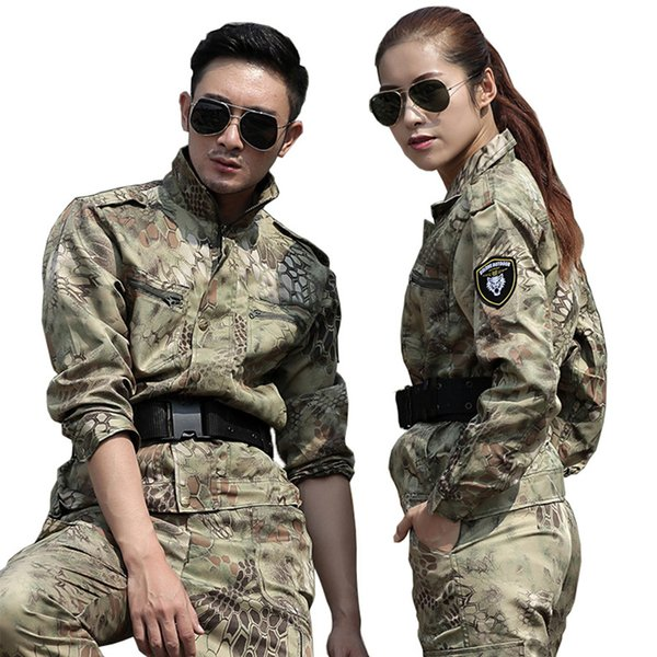 Mens Hunting Clothes Yellow Python Camouflage Suit Army Tactical Jackets+Pants Uniforms Multicam Combat Ghillie Suits