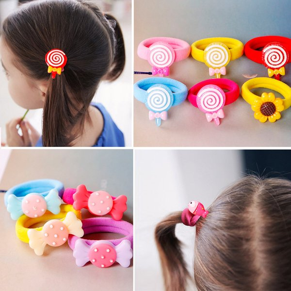 10Pcs Korean Children's Cute Cartoon Elastic Soft Rubber Band Gum Spring Girls Hair Bands Rubber Bands for Hair Accessories