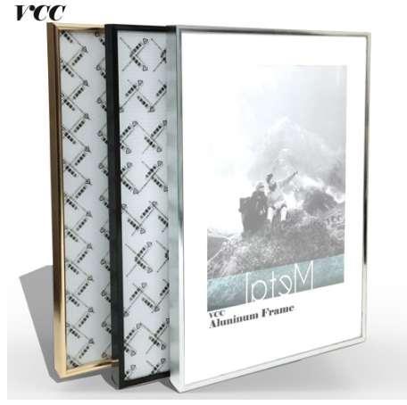 Marco de pared de arte decorativo, clásico estrecho estrecho marco de aluminio A4 A3 Poster para colgar en la pared, marco de fotos de metal, marco de certificado,