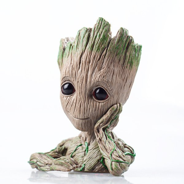 Fashion Guardians of The Galaxy The Avengers Flowerpot Baby Groot Action Figures Cute Model Toy Pen Pot Ornament Gifts For Kids Children