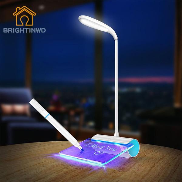 BRIGHTNWDLED Lámpara de mesa Novedad Protección para los ojos USB Rechageable Lámpara de escritorio Interruptor táctil Interruptor de lectura Luz de mensaje Luz 3 Modo Oscurecimiento