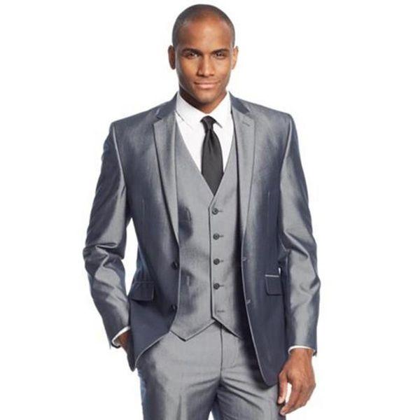 Cinza de Prata 3 Peças Dos Homens Ternos Dois Botões De Casamento Ternos para Homens Noivo Smoking Business Formal Terno (Jaqueta + calça + colete + gravata)