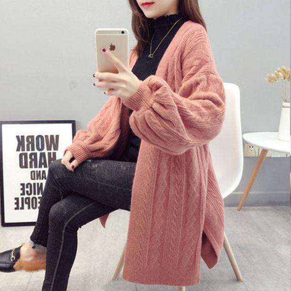 Women's Knit Cardigan Fashion Loose Korean Sweater Autumn Winter Twist Sweater Jacket 2019 New Lantern Sleeve Knit Cardigan