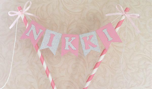 New Custom Name Pink Silver Name Cake Topper Bunting Girl Princess Baby shower Banner Smash Cake Flag Decor Photp props