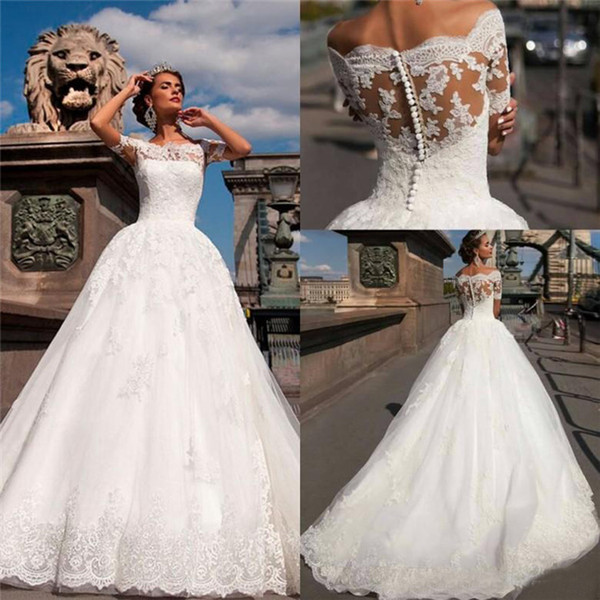 2018 Vintage Lace Wedding Dresses Sexy Off The Shoulder Short Sleeves Aplliques Covered Button A Line Sheer Bridal Gowns