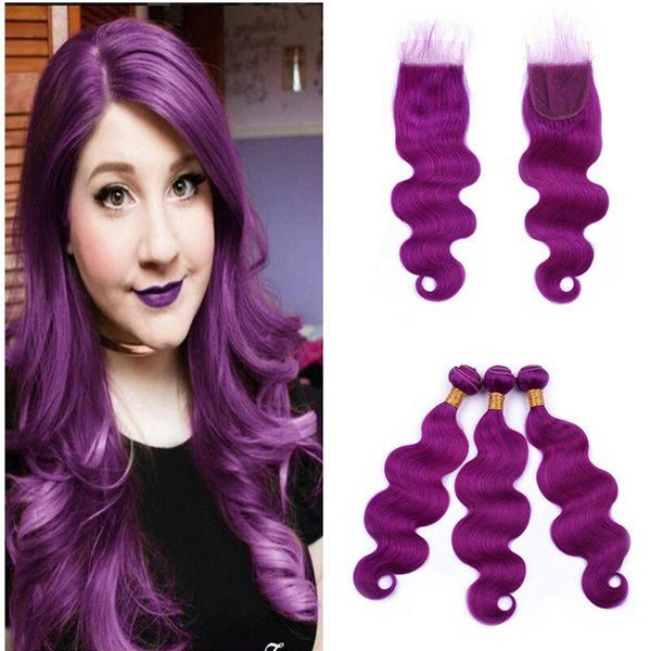 Body Wave Purple Human Hair With Lace Closure Peruvian Virgin Hair Extension 3 Bundles With 4x4 Lace Closure 4Pcs/Lot For Sale