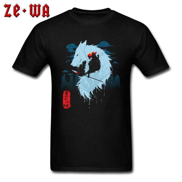 Tops Tees Princess Mononoke T-shirt Men Slim Fit T Shirts Forest Spirit Japan Anime Design Clothes Cotton Cheap Black Tshirt