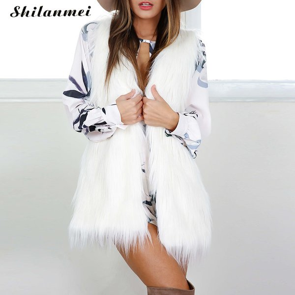 2017 winter white fur vest women warm coat faux fur jacket outwear waistcoat elegant sleeveless plus size Cardiga cape XXXL