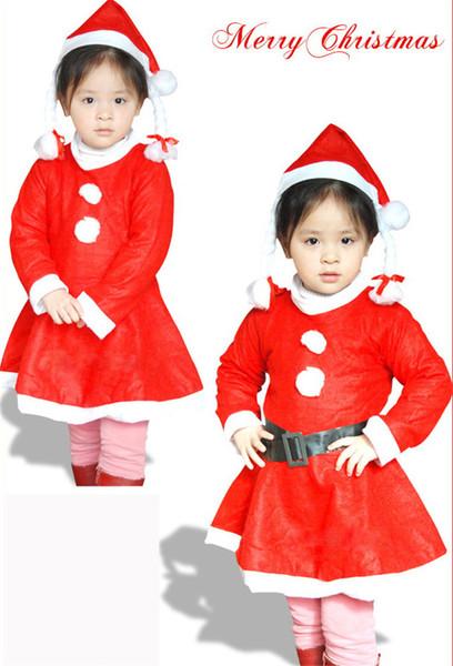 Ropa de Navidad para niños trajes muestran chicas 1-3 años fabricantes promocionales spot vestido de cinturón de sombrero
