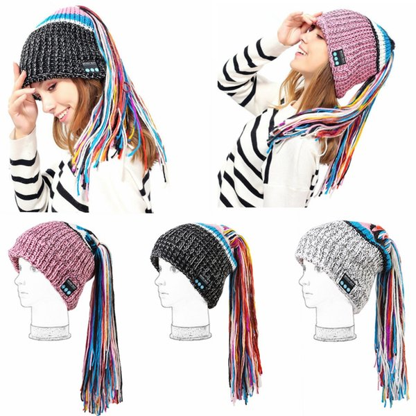 Wireless Bluetooth Smart Beanie Hat Musical Headphone Speaker Women Tassel Knitted Hat Microphone Hands Free Earphone Caps Warm MMA773 10pcs