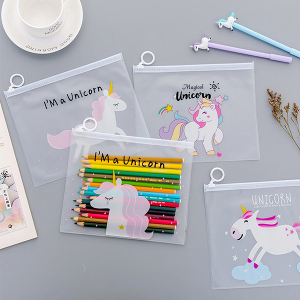cute stationery cartoon stuff unicorn Big capacity PVC leopard pen bag Stationery pouch gift school supplies