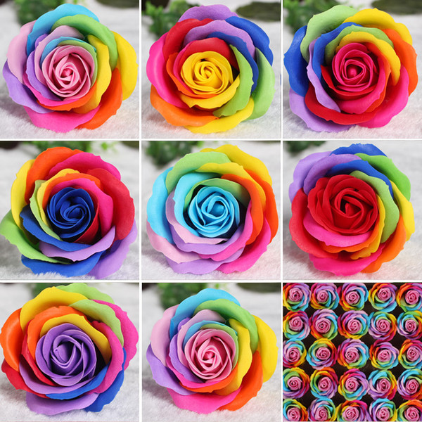 25pcs Colorful Soap Flower Artifical Flower Material Rose Head Color Rose Flowers Decorative Flowers Soap Wedding Decoration